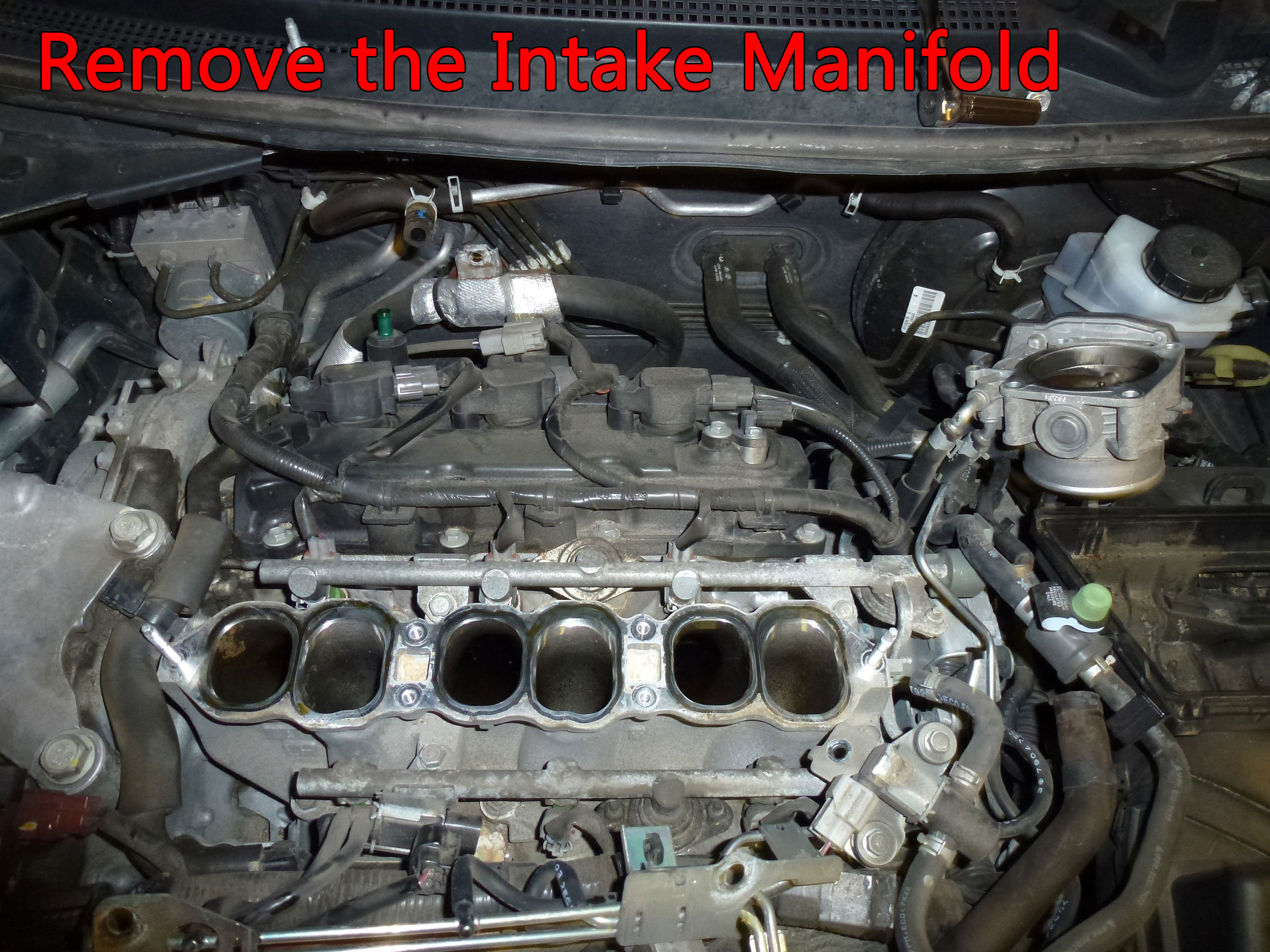If you haven't missed anything, the upper intake manifold can be lifted out. Remove slowly and check for anything that may still be attached.