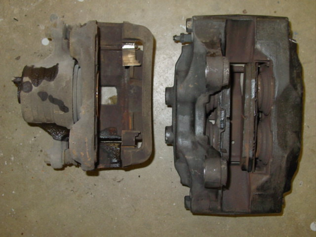 Inside comparison of front 240SX caliper vs 26mm 300ZX Caliper