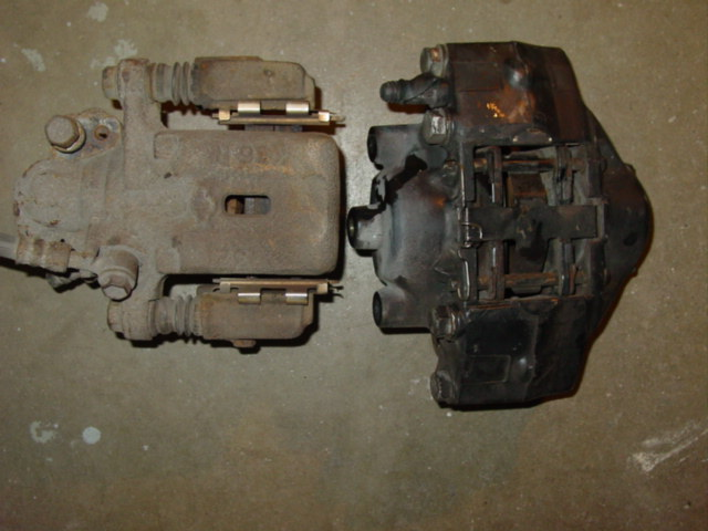 Outside comparison of rear 240SX caliper vs 300ZX
