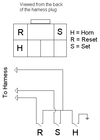 The break down of the wiring necessary for the buttons and horn are shown in the following wiring diagram: